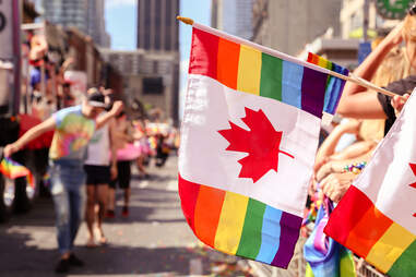 Pride parade flag in Toronto