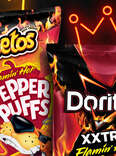 Bags of Cheetos Flamin' Hot Spicy Pepper Puffs, and Doritos Xxtra Flamin' Hot Nacho chips.