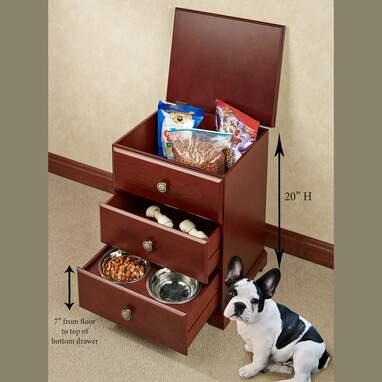 Pet Food Hideaway Storage Unit with Bowls