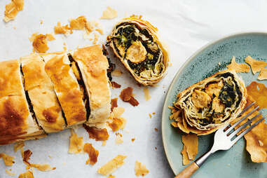 Leek, Chard, and Chicken Filo Roulade