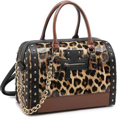 Shiny Patent Faux Leather Handbag With Barrel Top