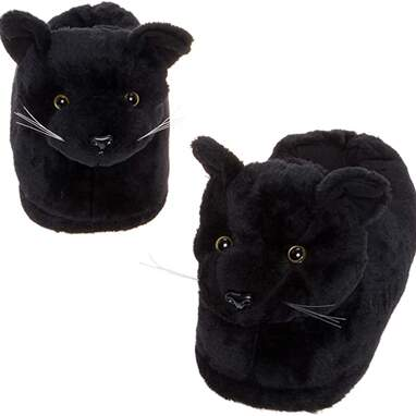 Black cat slippers