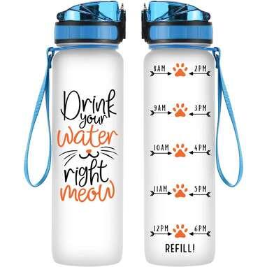 Coolife 32oz 1 Liter Motivational Tracking Water Bottle w/ Hourly Time Marker