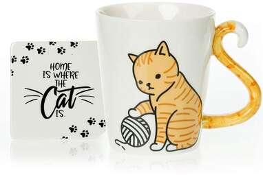 Orange Cat Mug and Coaster Set
