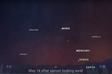 stargazing tonight mars venus mercury