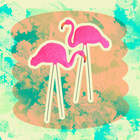 Pack of 2, Large Bright Pink Flamingo Yard Ornament