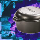Lodge Pre-Seasoned Cast Iron Double Dutch Oven With Loop Handles