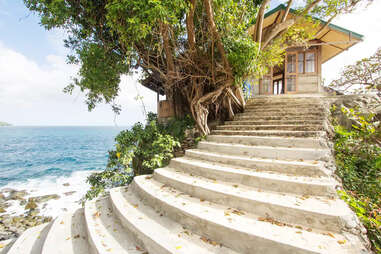 stairs to villa in El Nido, Phillippines