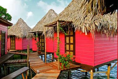 pink huts on Urraca Private Island