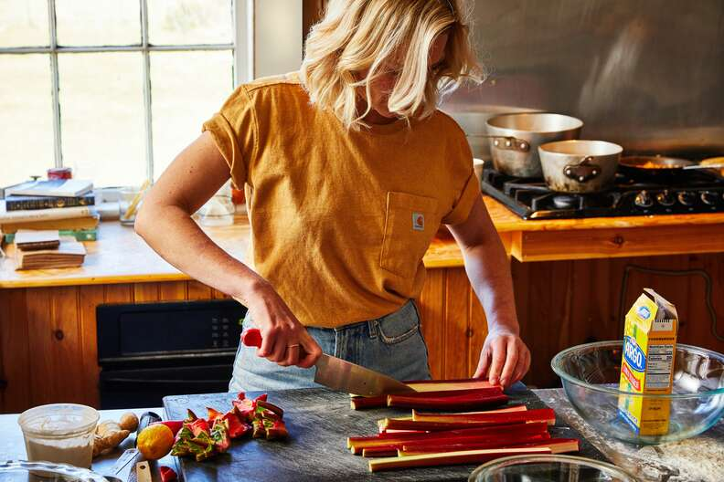 Maggie McDowell making strawberry-rhubarb pie