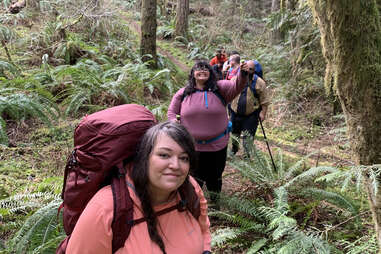 Jenny Bruso, founder of Unlikely Hikers, leading a group hike