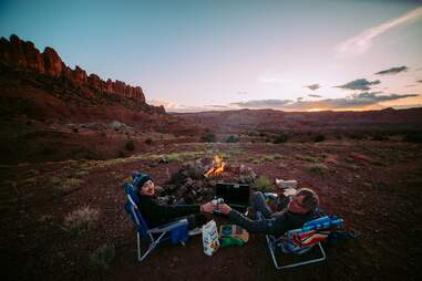 Car camping in the desert