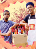 Andy Burton and brother, Nyles with sauce