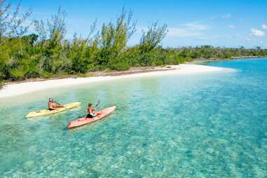 people kayaking in Andros, Bahamas
