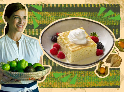 Pati Jinich and tres leches cake