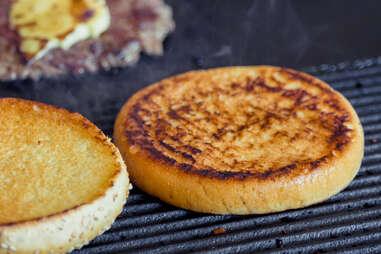 hamburger bun on grill