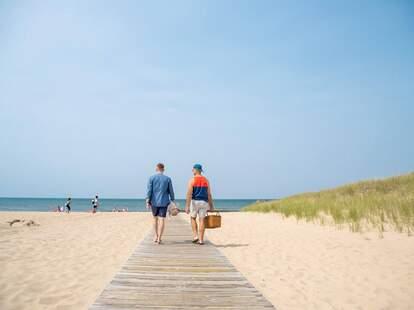 two beachgoers