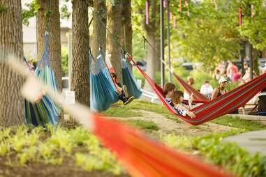 Spruce Street Harbor Park hammocks