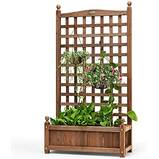 VIVOHOME Wood Planter Raised Bed with Trellis