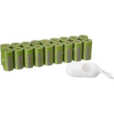 Amazon Basics Scented Dog Poop Bags with Dispenser and Leash Clip