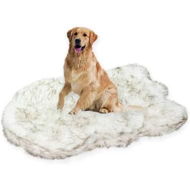 Laifug Large Faux Fur Memory Foam Dog Bed