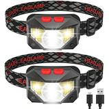 2 Pack of Rechargeable Headlamp, 500 Lumen COB Enhanced Head Lamp with Individual On/Off Button, Super Bright White Cree LED & Red Light, Motion Sensor, Waterproof