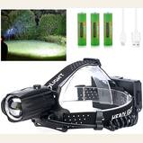 LED Rechargeable Headlamp for Adults, 90,000 Lumens