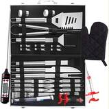 SENDAIST Deluxe BBQ Grill Tool Set – 32 PCS Grilling Accessories – Portable Grill Utensil Set with Thermometer in Heavy Duty Aluminum Case