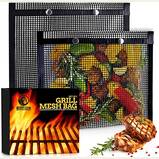 BBQ Mesh Grill Bags - 12 x 9.5 Inch Reusable Grilling Pouches for Charcoal, Gas, Electric Grills & Smokers