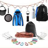 SAMIALOR Campsite Storage Strap with 12 PCS Buckles & 6 PCS Clothes Pins for Hanging Clothing and Gear
