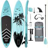 Cooyes Inflatable Stand Up Paddle Board 10.6 ft with Premium SUP Accessories and Backpack, Non Slip Deck, Waterproof Bag, Leash, Paddle and Hand Pump