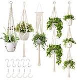 GROWNEER 5 Packs Macrame Plant Hangers