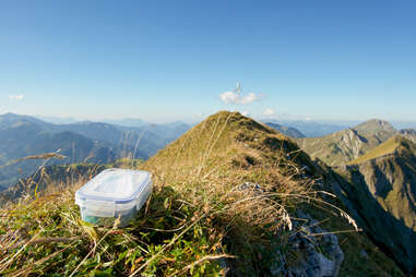 geocache container on a mountain