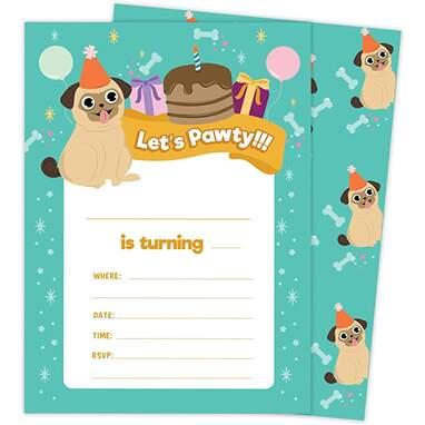 Desert Cactus Pug Birthday Invitations
