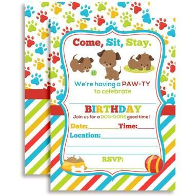 Amanda Creations Puppy Dog Paw-Ty Party Invitations