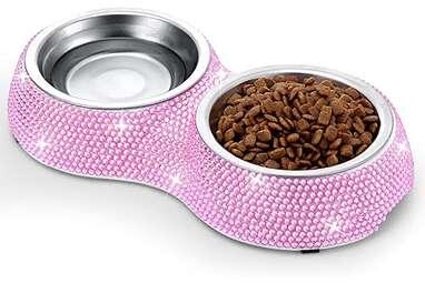 SAVORI Rhinestone Cat Food Bowls