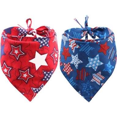 2 Pack American Flag Dog Bandana