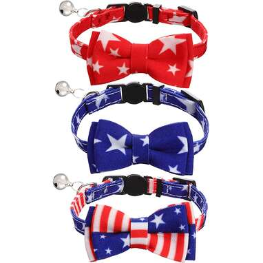Frienda 3 Pieces American Flag Cat Collar with Bowtie Bell
