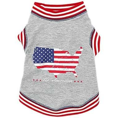 American Flag Soft Dog T-Shirt