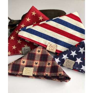 Patriotic USA Red Stars Dog Bandana