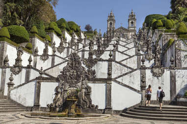 tourists approaching bom jesus church in portugal