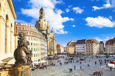 gargoyle outside Church Frauenkirche in Dresden, Germany