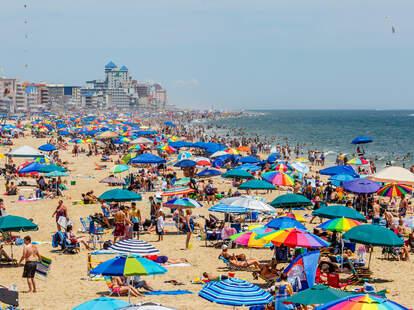 Crowded beach in Ocean City, MD