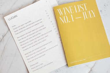 Lucian Books and Wine menu
