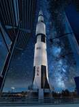 a usa rocket at night
