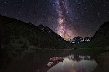 Milky Way over Maroon Bells, Aspen, Colorado