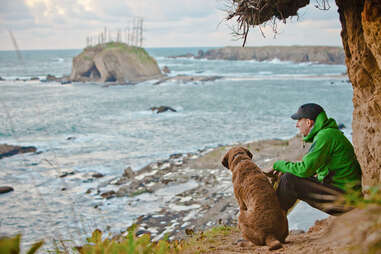 man and dog overlooking ocean