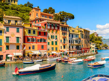 boats floating in the picturesque harbor of Portofino, an Italian fishing village