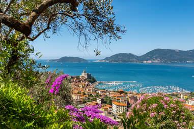 Lerici town and Portovenere or Porto Venere in the background with the Palmaria, Tino and Tinetto Island in the Gulf of La Spezia