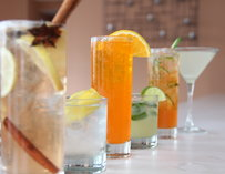 A lineup of various drinks